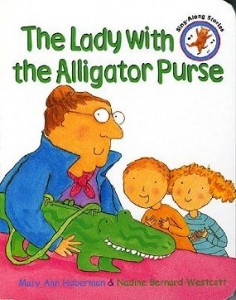 lady with alligator purse