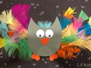 feather owl craft preschool story time