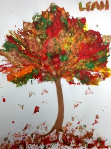 fall leaf painted tree preschool story time