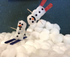 cotton ball snowman on skis story time craft