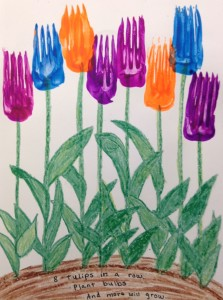 fork paint tulip preschool spring story time craft