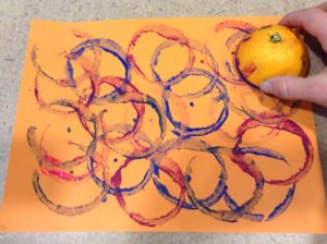 orange paint preschool story time craft
